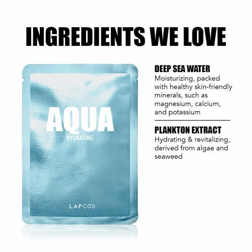 LAPCOS Aqua Sheet Mask, Daily Face Mask with Seawater and Plankton Extract to Nourish and Hydrate Skin - Best aqua mask sheet to hydrate the acne skin