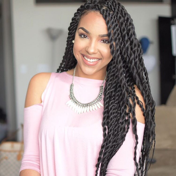 Twisted braids with Long Weave - Trending hair style in africa
