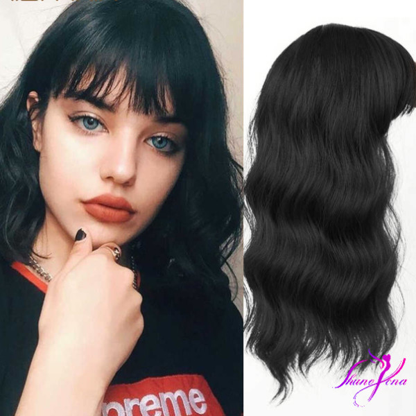 Vigorous Wavy Hair Toppers with Bangs Hair Extension Clip in Top Crown Hairpieces for Women with Thinning and Loss Hair
